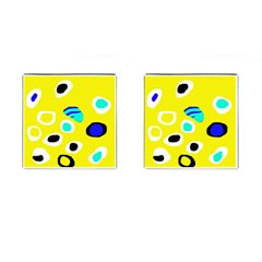Yellow Abstract Pattern Cufflinks (square)