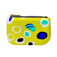 Yellow Abstract Pattern Mini Coin Purses by Valentinaart