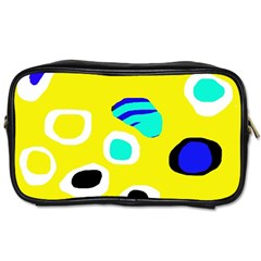 Yellow Abstract Pattern Toiletries Bags by Valentinaart