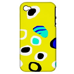Yellow Abstract Pattern Apple Iphone 4/4s Hardshell Case (pc+silicone) by Valentinaart