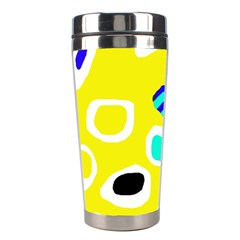 Yellow Abstract Pattern Stainless Steel Travel Tumblers by Valentinaart