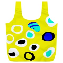 Yellow Abstract Pattern Full Print Recycle Bags (l)  by Valentinaart