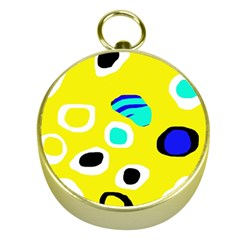 Yellow Abstract Pattern Gold Compasses by Valentinaart