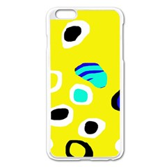 Yellow Abstract Pattern Apple Iphone 6 Plus/6s Plus Enamel White Case by Valentinaart