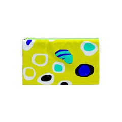 Yellow Abstract Pattern Cosmetic Bag (xs) by Valentinaart