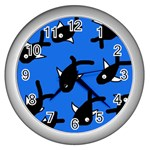 Cute fishes Wall Clocks (Silver)  Front