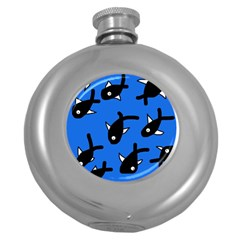 Cute Fishes Round Hip Flask (5 Oz) by Valentinaart
