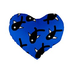 Cute Fishes Standard 16  Premium Flano Heart Shape Cushions by Valentinaart