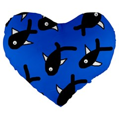 Cute Fishes Large 19  Premium Flano Heart Shape Cushions by Valentinaart