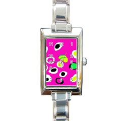 Pink Abstract Pattern Rectangle Italian Charm Watch by Valentinaart