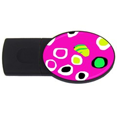 Pink Abstract Pattern Usb Flash Drive Oval (2 Gb)  by Valentinaart