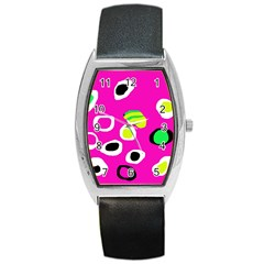 Pink Abstract Pattern Barrel Style Metal Watch by Valentinaart