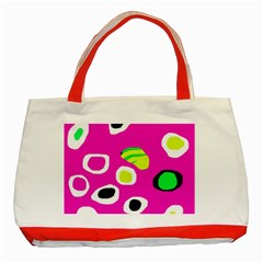 Pink Abstract Pattern Classic Tote Bag (red)