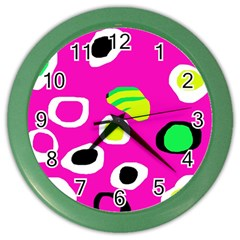 Pink Abstract Pattern Color Wall Clocks by Valentinaart