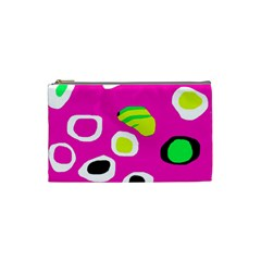 Pink Abstract Pattern Cosmetic Bag (small)  by Valentinaart