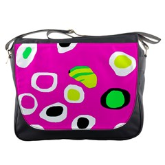 Pink Abstract Pattern Messenger Bags by Valentinaart