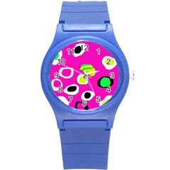 Pink Abstract Pattern Round Plastic Sport Watch (s) by Valentinaart
