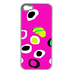Pink Abstract Pattern Apple Iphone 5 Case (silver) by Valentinaart