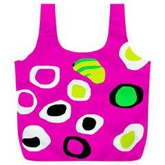 Pink Abstract Pattern Full Print Recycle Bags (l)  by Valentinaart