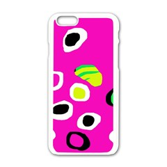 Pink Abstract Pattern Apple Iphone 6/6s White Enamel Case by Valentinaart