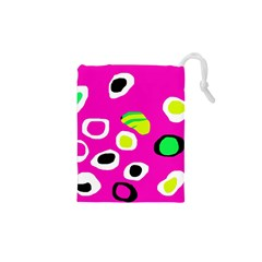 Pink Abstract Pattern Drawstring Pouches (xs)  by Valentinaart