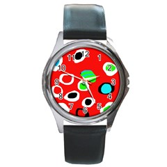 Red Abstract Pattern Round Metal Watch by Valentinaart