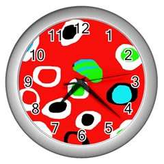 Red Abstract Pattern Wall Clocks (silver)  by Valentinaart