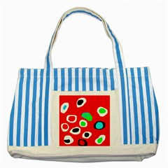 Red Abstract Pattern Striped Blue Tote Bag by Valentinaart