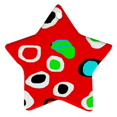 Red Abstract Pattern Star Ornament (two Sides)  by Valentinaart