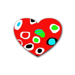 Red Abstract Pattern Rubber Coaster (heart)  by Valentinaart