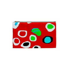 Red Abstract Pattern Cosmetic Bag (small)  by Valentinaart