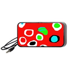 Red Abstract Pattern Portable Speaker (black)  by Valentinaart
