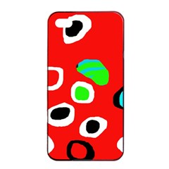 Red Abstract Pattern Apple Iphone 4/4s Seamless Case (black) by Valentinaart