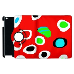 Red Abstract Pattern Apple Ipad 3/4 Flip 360 Case by Valentinaart