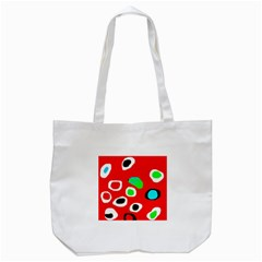 Red Abstract Pattern Tote Bag (white) by Valentinaart