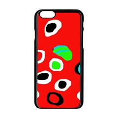 Red Abstract Pattern Apple Iphone 6/6s Black Enamel Case by Valentinaart
