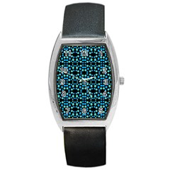 Dots Pattern Turquoise Blue Barrel Style Metal Watch by BrightVibesDesign