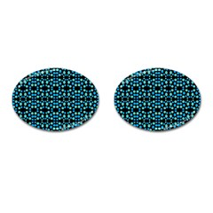 Dots Pattern Turquoise Blue Cufflinks (oval) by BrightVibesDesign