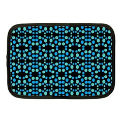 Dots Pattern Turquoise Blue Netbook Case (medium)  by BrightVibesDesign