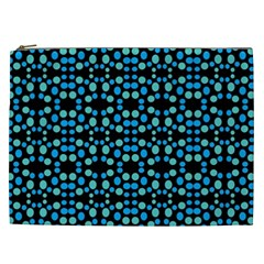 Dots Pattern Turquoise Blue Cosmetic Bag (xxl)  by BrightVibesDesign