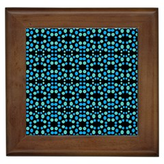 Dots Pattern Turquoise Blue Framed Tiles by BrightVibesDesign