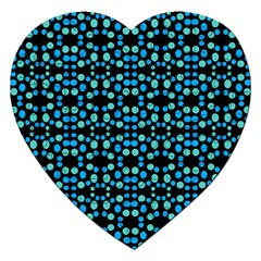 Dots Pattern Turquoise Blue Jigsaw Puzzle (heart) by BrightVibesDesign