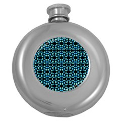 Dots Pattern Turquoise Blue Round Hip Flask (5 Oz) by BrightVibesDesign