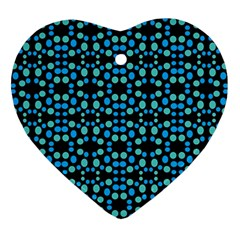 Dots Pattern Turquoise Blue Heart Ornament (2 Sides) by BrightVibesDesign