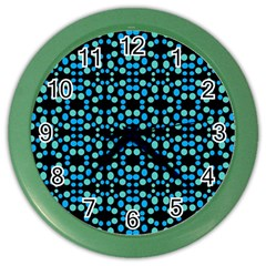 Dots Pattern Turquoise Blue Color Wall Clocks by BrightVibesDesign
