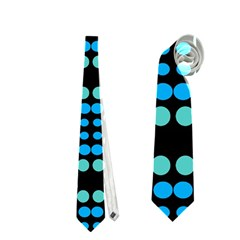 Dots Pattern Turquoise Blue Neckties (two Side)  by BrightVibesDesign