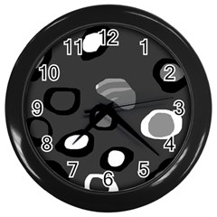 Gray Abstract Pattern Wall Clocks (black) by Valentinaart