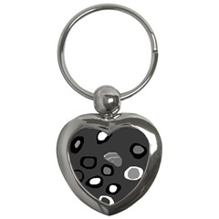 Gray Abstract Pattern Key Chains (heart)  by Valentinaart