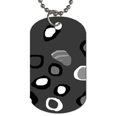 Gray Abstract Pattern Dog Tag (two Sides) by Valentinaart