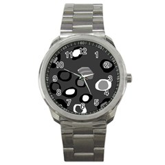 Gray Abstract Pattern Sport Metal Watch by Valentinaart
